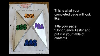Tests for Triangle Congruence Foldable