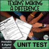 Texans Making a Difference Unit Test - Editable!