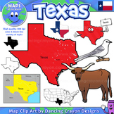 Texas State Symbols and Map Clipart