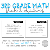 I Can Statement Posters Math Texas 3rd Grade TEKS 3.1