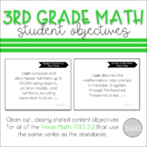 I Can Statement Posters Math Texas 3rd Grade TEKS 3.2