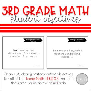 Texas 3rd Grade Math 3.3 TEKS Student Objectives