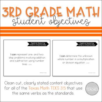 Texas 3rd Grade Math 3.5 TEKS Student Objectives