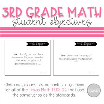 Texas 3rd Grade Math 3.6 TEKS Student Objectives