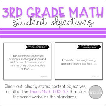 TEKS 3.7 Student Objectives