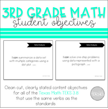 Texas 3rd Grade Math 3.8 TEKS Student Objectives