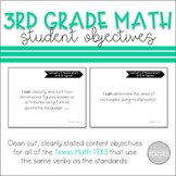 I Can Statement Posters Math Texas 3rd Grade TEKS Complete Set