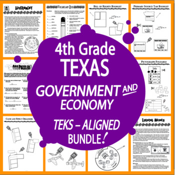 Texas Government and Economy Bundle of TEN COMPLETE Lessons