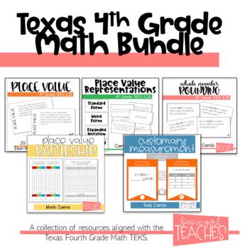 4th Grade Math TEKS Aligned Activities Bundle