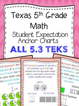 Texas 5th Math SE Chart ALL 5.3 TEKS!