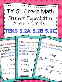 Texas 5th Math SE Chart TEKS 5.2A 5.2B 5.2C