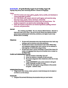 Texas 6th Grade Geography and Culture Lesson Plan