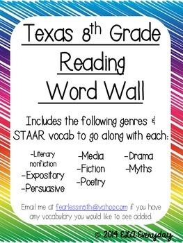 Texas 8th Grade Reading Word Wall