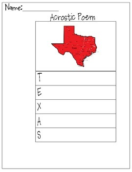 Texas Acrostic Poem