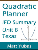 Texas Algebra 1 Quadratic Functions Unit 8 IFD Summary - FREE