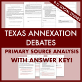 Texas Annexation Debates Primary Sources Worksheet w/ ANSWER KEY!