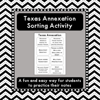 Texas Annexation Sorting Activity