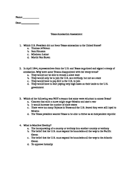 Texas Annexation Test
