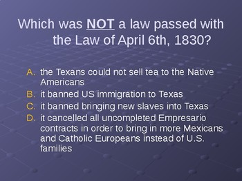 Texas Annexation and Independence Powerpoint Review Game