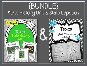 Texas {BUNDLE} State History Unit and State Lapbook & Interactive Notebook