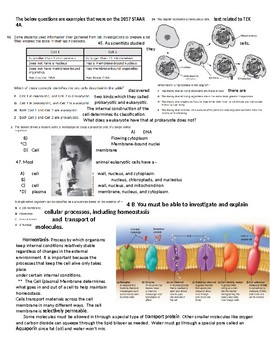 Texas Biology STAAR Review Packet with Examples and Practice Questions