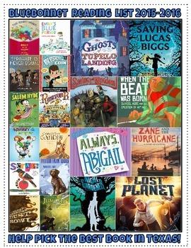 Texas Bluebonnet Reading List Program 2015-16 Posters-Displays-Bookmarks *FREE*