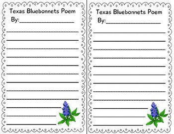 Texas Bluebonnet acrostic poem and writing paper