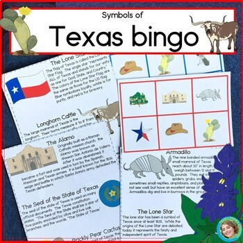 Texas Bundle: Reading, Game Board and State Symbols Bingo