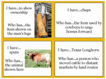 Texas Cattle Ranching I Have Who Has
