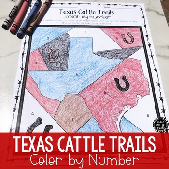 Texas Cattle Trails Color by Number Activity (SS5H1)