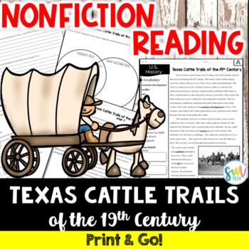 Texas Cattle Trails Reading and Writing Activity (SS5H1)