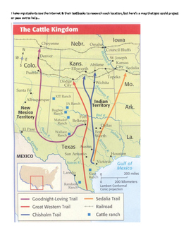 Texas Cattle Trails map