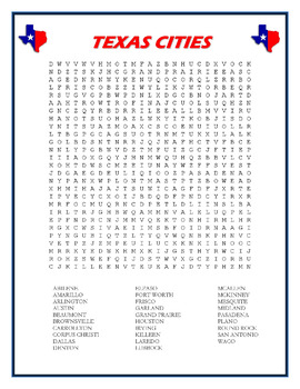 Texas Cities word search puzzle