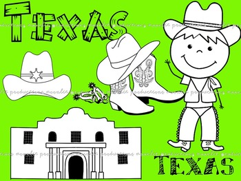 Texas Clip Art Blackline Masters - Personal and Commercial use