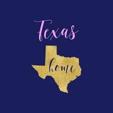 Texas Clipart, USA State Vector Clipart, Texas Home, Gold US Clipart