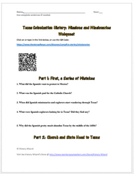 Texas Colonization History: Missions and Missionaries Webquest