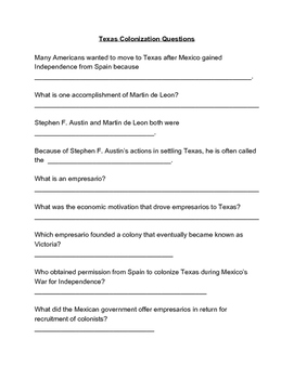 Texas Colonization Questions