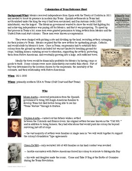 Texas Colonization Reference Sheet and Review