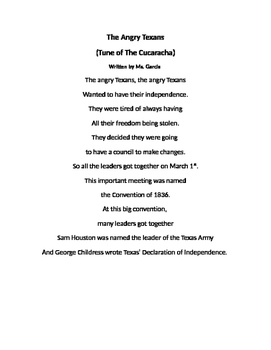 Texas Convention of 1836 Song