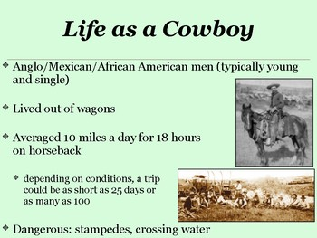 Texas Cowboys and Cattle Ranchers Power Point with Activities