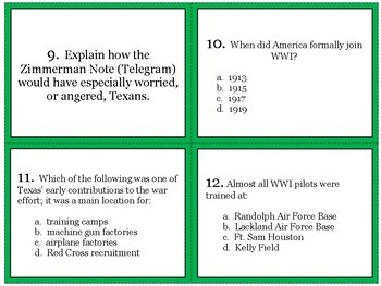 Texas During WWI Task Cards