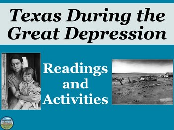 Texas During the Great Depression Reading and Activities