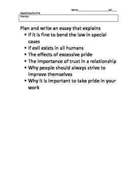 Texas EOC Expository Essay Guided Outline with prompts