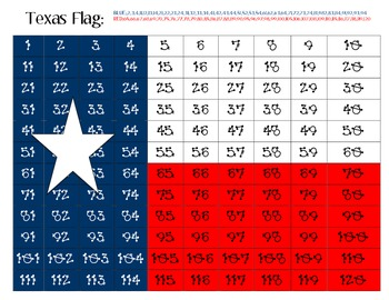 Texas Flag Hidden Picture on 120 Chart