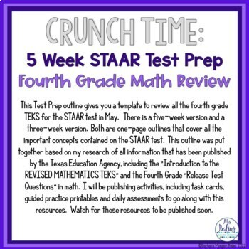 Texas Fourth Grade Math Test Prep: CRUNCH TIME Five week Outline