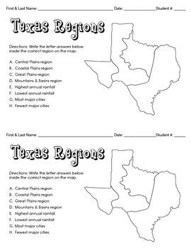 Texas Geographic Regions (Mastery Checks)