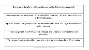 Texas Geography Build a Paragraph hands on activity
