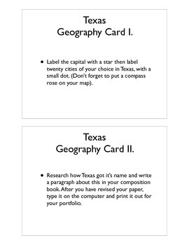 Texas Geography Command Cards