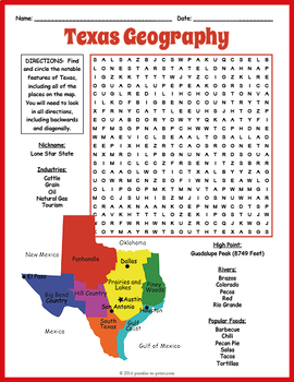Texas Word Search Puzzle