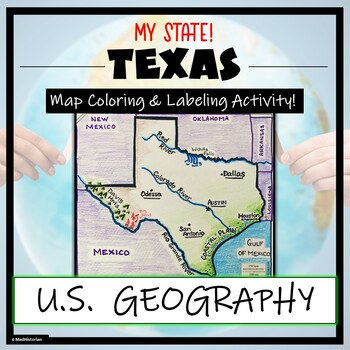 Texas Geography & Map Skills- Label and Coloring Activity!